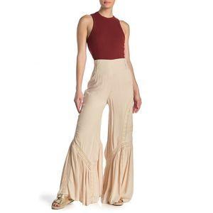 NWT Free People Lovins Easy Lace Mix WideLeg Pants